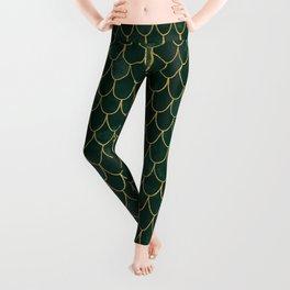 Mermaid Fin Pattern // Emerald Green Gold Glittery Scale Watercolor Bedspread Home Decor Leggings