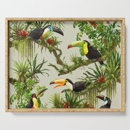 Toucans and Bromeliads (Canvas Background) Serving Tray