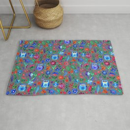 Little Owls and Flowers on Grey Rug