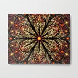 fractal patterns glitter flower glare digital art Metal Print