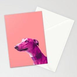 Pink Greyhound. Pop art dog. Stationery Cards