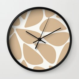 Riverbed Stones Minimalist Abstract Pattern in Natural Wood Beige and Off-White Wall Clock