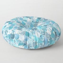 Mermaid Art, Cute Teal and Aqua, Fun Bathroom Art Floor Pillow