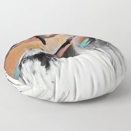 Head in the Clouds: colorful abstract piece in pink, teal, gold, black and white Floor Pillow