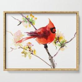 Cardinal Bird in Spring Serving Tray