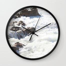 White water, dark rocks Wall Clock