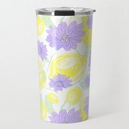 Freshy lemon fruit aroma purple flower beautiful pattern on white backgroung Travel Mug