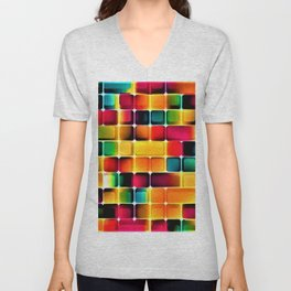 Abstract Colors in Grid by Jeanpaul Ferro Unisex V-Neck