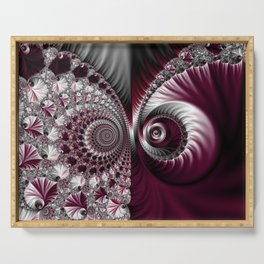 Fractal Art. Gray and Dark Plum Colours. Abstract pattern. Serving Tray