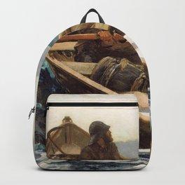 Winslow Homer1 - The Fog Warning, Halibut Fishing - Digital Remastered Edition Backpack