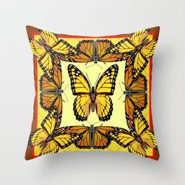 ORIGINAL DESIGN  ABSTRACT OF YELLOW & ORANGE MONARCH BUTTERFLIES BROWN ART Throw Pillow