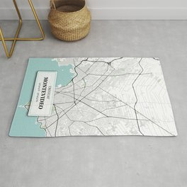 Montevideo Uruguay City Map with GPS Coordinates Rug