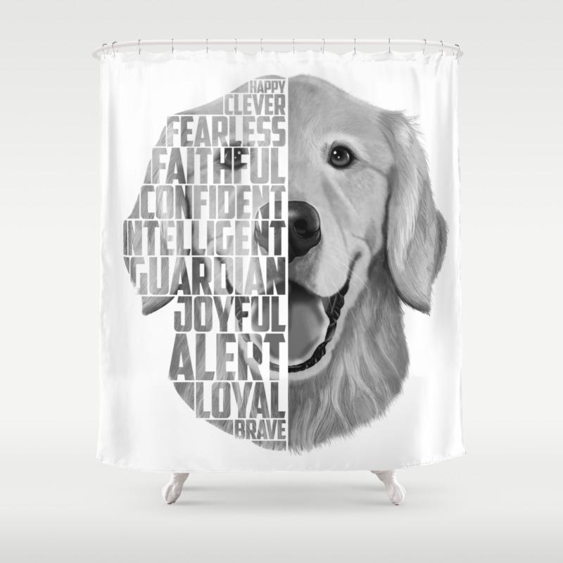 880866453 CafePress Golden Retriever Shower Curtain