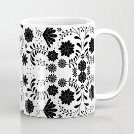 Black Mexican Flowers Coffee Mug