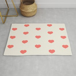 Cute little hearts pattern - blush and off white Rug