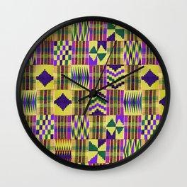 Kente Cloth // Blue-Violet & Goldenrod Wall Clock
