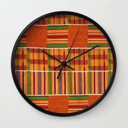 Ethnic African Kente Cloth Pattern Wall Clock