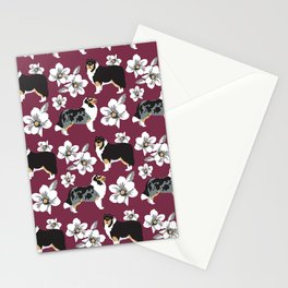 Collie Dogs burgundy  Stationery Cards