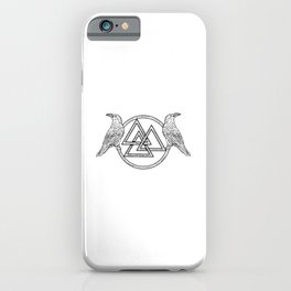 Raven Thor Hammer Nordic Symbol Munin Hugin Rune Vikings iPhone Case