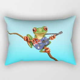 Tree Frog Playing Acoustic Guitar with Flag of Australia Rectangular Pillow