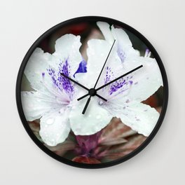 WHITE BLOSSOM - Rhododendron Wall Clock