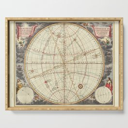 Vintage Map Print - 1660 Cellarius celestial chart showing motions of co-ordinate systems Serving Tray