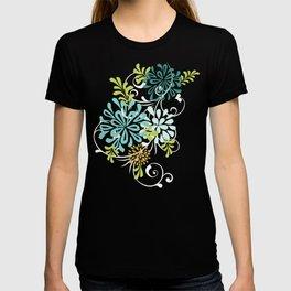 Bold Graphic Mod Mum Modern Chrysanthemum Floral Flower Aqua Blue T-shirt