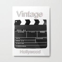 Vintage film movie video Clapperboard Hollywood black and white  Metal Print