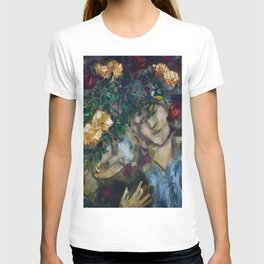 Lovers With Flowers, floral portrait painting by Marc Chagall T-shirt