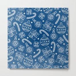 Christmas Doodle Pattern Pantone Classic Blue Metal Print
