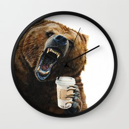 """ Grizzly Mornings "" give that bear some coffee Wall Clock"
