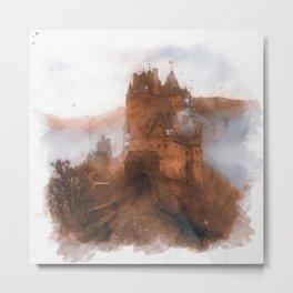 Eltz Castle, Watercolor Metal Print