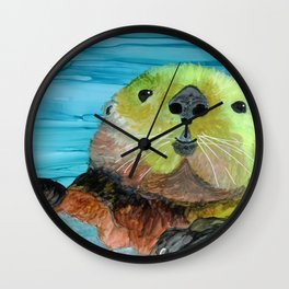 Smiling Sea Otter Wall Clock