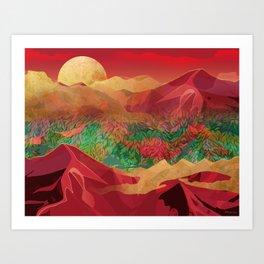 """Tropical golden sunset over fantasy pink forest"" Art Print"
