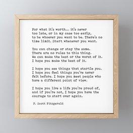 For What It's Worth, Life, F Scott Fitzgerald Motivational Quote Framed Mini Art Print