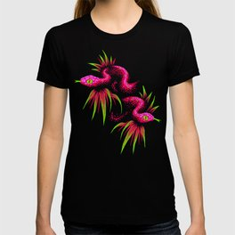 Mr Snake in the Rainforest - Pink Green T-shirt