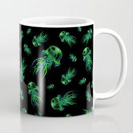 Green Jellyfish Pattern | Colorful Art | Blue and Green | Black background Coffee Mug