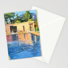 Sir John Lavery - A blue swimming pool at Cannes - Digital Remastered Edition Stationery Cards