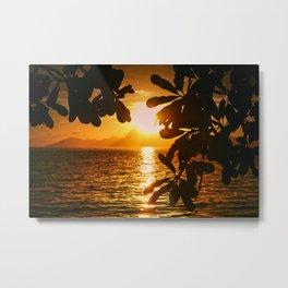 Golden Tahiti Sunset Behind Island Metal Print