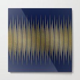 Linear Blue & Gold Metal Print