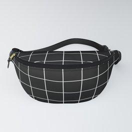 Grid Pattern Line Stripe Black and White Minimalist Geometric Stripes Lines Fanny Pack