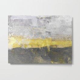 Yellow and Grey Abstract Painting - Horizontal Metal Print