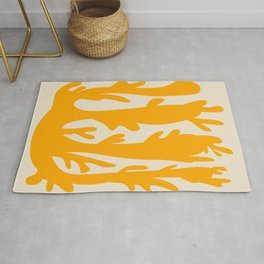 Simple coral in yellow Rug