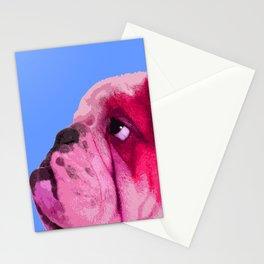 English bulldog portrait, Blue Pop art. Stationery Cards