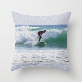 Surfer Oil Paint Effect Throw Pillow