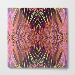 PRETTY VIOLET CORAL YELLOW SWEEPING LINES Metal Print