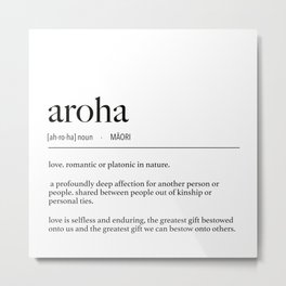 New Zealand Maori Aroha (Love) Definition Metal Print