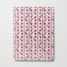 romantic rose pattern – sweet midcentury flowers Metal Print