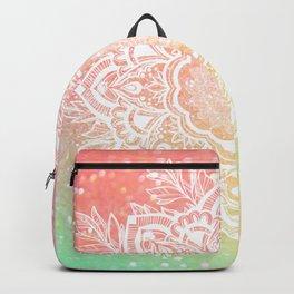 Mandala Bohemian Glitter Pink Gold Mint Sparkle Floral Wreath Illustration Backpack