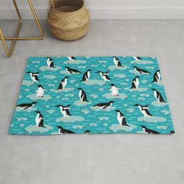 Penguins on the ice. Antarctica. Rug